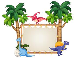 Dinosaur on blank banner © GraphicsRF