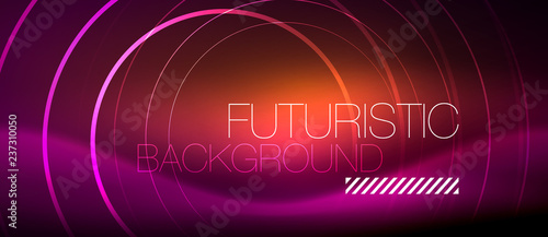 Neon glowing techno lines, hi-tech futuristic abstract background template with square shapes