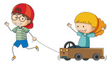 Boy and grilt playing cart