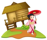 A japanese girl on wooden hut