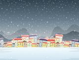 Winter town night background - 237313822