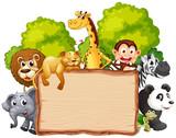 Wild animal on wooden banner - 237314254