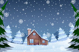 House in the winter forest - 237314882