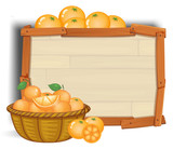 Orange with wooden banner
