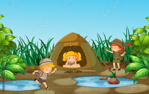Camping kids in nature - 237315698