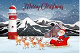 Santa riding sleigh in nature - 237316639