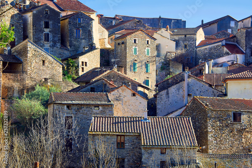 Plakat The village of Olargues in the Herault department of France