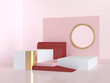 abstract pink red steps podium 3d rendering scene