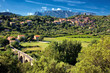 Vineyards and mountains in the Saint Chinian wine region of the Languedoc, south of France - 237323608