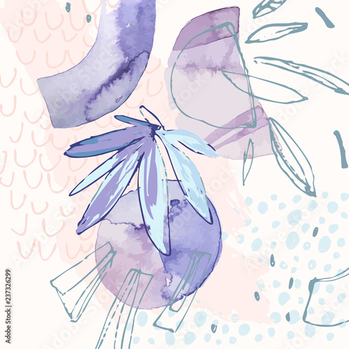 Modern illustration with tropical leaves, watercolor, grunge textures, doodles, geometric, minimal elements. - 237326299