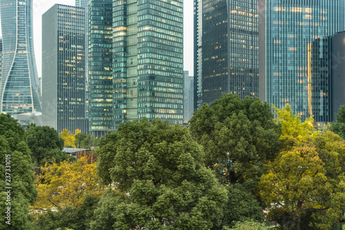 green trees front of modern glass office building - 237331015