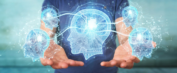 Businessman creating artificial intelligence 3D rendering