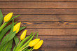 Beautiful yellow tulips on wooden background. Top view, copy space. Holidays concept. Add text