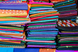 fabrics for sale at the market, digital photo picture as a background