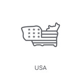 Usa linear icon. Modern outline Usa logo concept on white background from United States of America collection