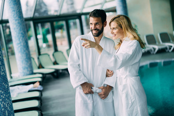 Portrait of attractive couple in spa center © nd3000
