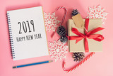 2019 Happy New Year, top view brown gift box, notebook and christmas decoration for new year on pink pastel color. - 237342675