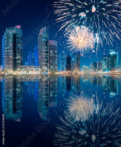 fototapeta na ścianę Beautiful fireworks above Dubai Marina bay, UAE