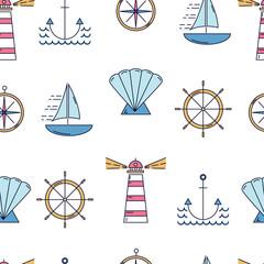 Nautical seamless pattern with linear style elemtns. © Diana Vyshniakova