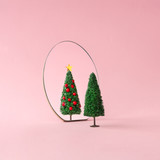 Christmas tree with mirror on pastel pink background. Minimal New Year decoration concept. - 237349891