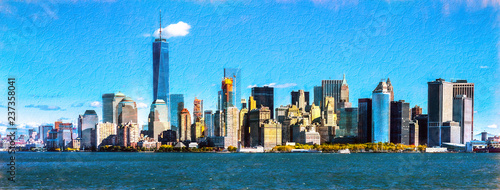 New York city skyline including the One Trade Center building, USA - 237358041