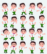 Cartoon character businessman in casual style. Set with different postures, attitudes and poses, doing different activities in isolated vector illustrations. - 237359408