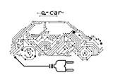 electric car - e-car on a board
