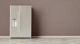 Modern side by side Stainless Steel Refrigerator. Fridge Freezer interior. 3d rendering - 237359662