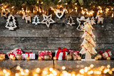 Christmas rustic background with wooden decoration - 237361421