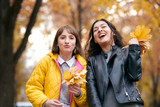 Pretty woman and teen girl are posing with bunch of maple's leaves in autumn park. They are training for kiss. Beautiful landscape at fall season. - 237366208