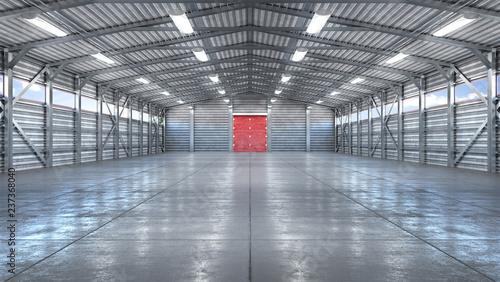 Leinwandbild Motiv Hangar interior with gate. 3d illustration