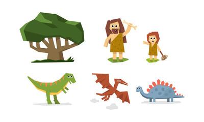 Prehistoric stone age, cute geometric primitive cave man, kid and dinosaurs vector Illustration © topvectors