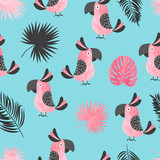 Seamless summer tropical pattern with cute pink watercolor parrots and palm leaves.