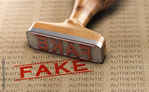 Authentic vs Fake Poduct. Counterfeit Concept