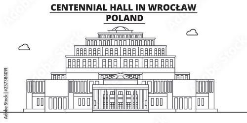 Polska - Wrocław, Hala Stulecia podróży słynny punkt orientacyjny panoramę, panorama wektor. Polska - Wrocław, ilustracja liniowa Hala Stulecia