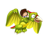 Cartoon dinosaur pterodactyl and caveman woman flying on his back - on white background - illustration for children - 237389439