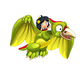 Cartoon dinosaur pterodactyl and caveman woman flying on his back - on white background - illustration for children - 237389482