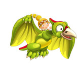 Cartoon dinosaur pterodactyl and caveman woman flying on his back - on white background - illustration for children - 237389600