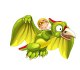 Cartoon dinosaur pterodactyl and caveman woman flying on his back - on white background - illustration for children - 237389616