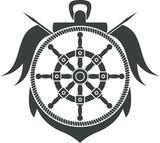 Sea emblem. Anchor, steering wheel, flags
