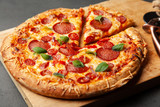 Pizza with salami and chorizo