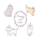 Cartoon cute cat happy new year vector.