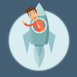 Business start up. Businessman riding  rocket metaphor. Flat vector illustration  - 237399820