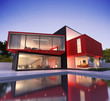 Red and black modern house