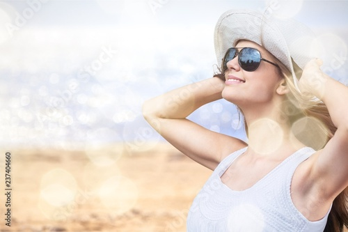 Leinwanddruck Bild Outdoor summer portrait of pretty young smiling happy woman