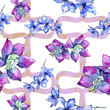 Purple orchid flower. Seamless pattern, fabric wallpaper print texture. Watercolor background.