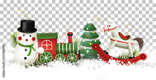 Christmas Border With Wooden Toys Decorations Buy Photos Ap
