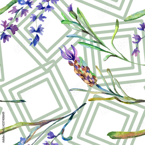 Purple lavender. Floral botanical flower. Watercolo seamless background pattern. Fabric wallpaper print texture.