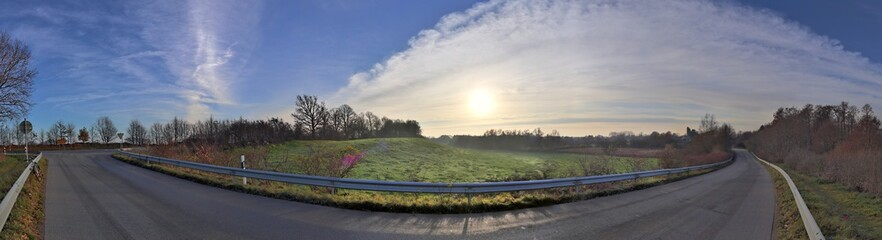 Beautiful high resolution panorama of a landscape in northern germany © Michael