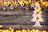 Christmas rustic background with wooden decoration - 237413640